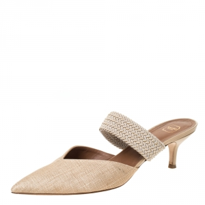 Malone Soulier Cream Raffia and Cord Maisie Pointed Toe Mules Size 40.5