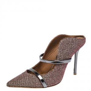 Malone Souliers Metallic Moire Fabric Maureen Pointed Toe Mules Size 37.5