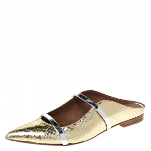 Malone Souliers Gold Snake Leather And Silver Leather Maureen Pointed Toe Mules Size 38