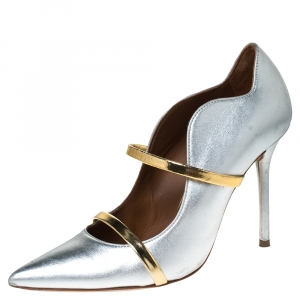 Malone Souliers Silver/Gold Foil Leather Maureen Pumps Size 37