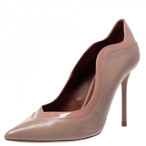 Malone Souliers Beige Leather Penelope Pointed Toe Pumps Size 39.5