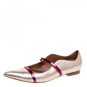 Malone Souliers Metallic Rose Gold Leather Maureen Pointed Toe Ballet Flats Size 41 - used
