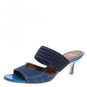 Malone Souliers Blue Fabric Milena Slide Sandals Size 35 - used