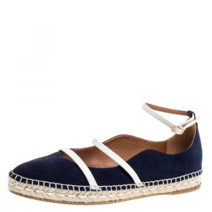 Malone Souliers Blue Suede Leather Trim Selina Espadrille Ankle Strap Flats Size 40