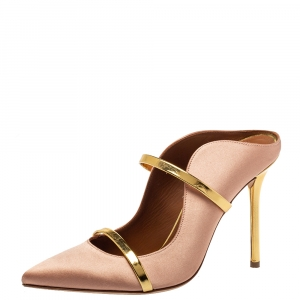 Malone Souliers Blush Gold Satin And Leather Maureen Sandals Size 38 - used