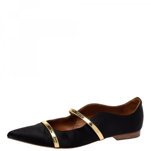 Malone Souliers Black Satin Maureen Pointed Toe Ballet Flats Size 37.5 - used