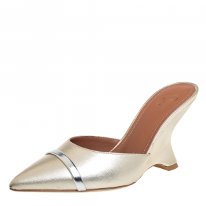 Malone Souliers Metallic Gold/Silver Leather Marilyn Slip-On Sandals Size 36 - used