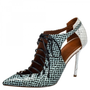 Malone Souliers Multicolor Python Montana Pointed Toe Lace Up Booties Size 37 - used