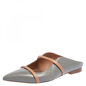 Malone Souliers Grey/Beige Leather Maureen Pointed Toe Flats Size 37.5 - used