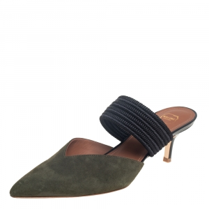 Malone Souliers Green/Blue Suede And Fabric Maisie Pointed Toe Mules Sandals Size 37