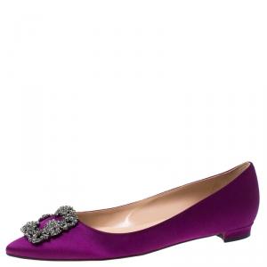 Manolo Blahnik Purple Satin Hangisi Ballet Flats Size 39