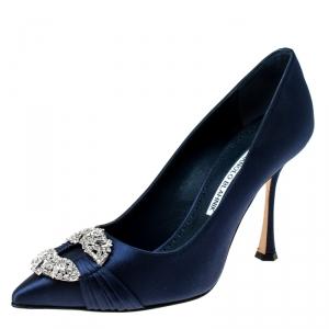 Manolo Blahnik Navy Blue Satin Maidu Pointed Toe Pumps Size 38