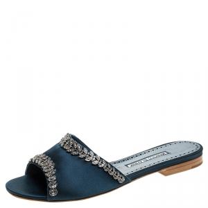Manolo Blahnik Teal Satin Crystal Embellished Triunslo Flat Slides Size 39