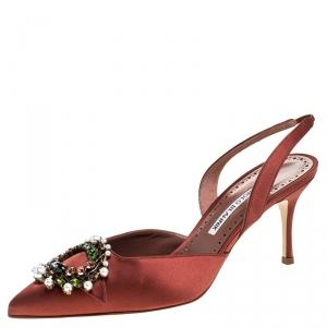 Manolo Blahnik Brown Satin Crystal Embellished Leona Slingback Pumps Size 38.5
