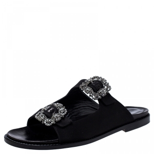 Manolo Blahnik Black Satin Sturlushangi Embellished Flat Sandals Size 38