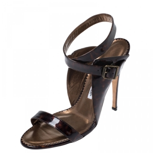 Manolo Blahnik Brown Tortoise Patent Leather Ankle Strap Sandals Size 38
