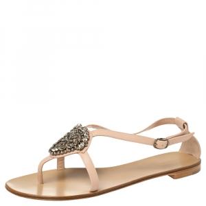 Manolo Blahnik Beige Doarada Crystal Embellished Flat Sandals Size 39.5 -