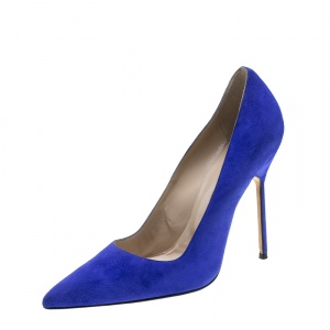 Manolo Blahnik Cobalt Blue Suede BB Pointed Toe Pumps Size 40