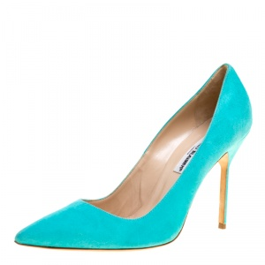 Manolo Blahnik Aqua Green Suede BB Pointed Toe Pumps Size 40.5