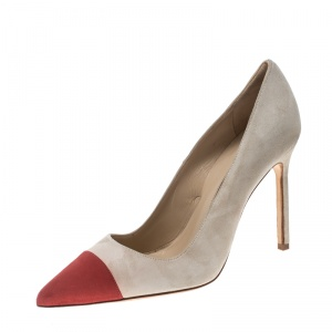 Manolo Blahnik Two Tone Suede Bipunta Pointed Toe Pumps Size 36