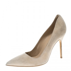 Manolo Blahnik Beige Suede BB Pointed Toe Pumps Size 38