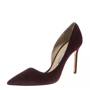 Manolo Blahnik Brown Suede Stresty Half D'orsay Pointed Toe Pumps Size 39.5