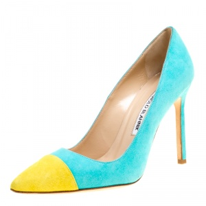 Manolo Blahnik Two Tone Suede Bipunta Pointed Toe Pumps Size 35