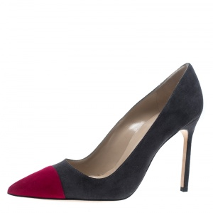 Manolo Blahnik Two Tone Suede Bipunta Pointed Toe Pumps Size 38