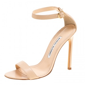Manolo Blahnik Beige Leather Chaos Ankle Strap Open Toe Sandals Size 36
