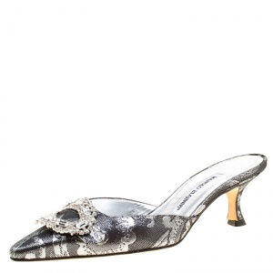 Manolo Blahnik Metallic Black/Silver Brocade Fabric Crystal Embellished Pointed Toe Mules Size 36.5