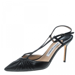 Manolo Blahnik Black Leather Pleat Detail Cross Strap Sandals Size 39
