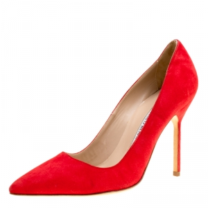 Manolo Blahnik Red Suede BB Pointed Toe Pumps Size 36