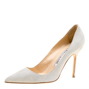 Manolo Blahnik Light Grey Suede BB Pointed Toe Pumps Size 37.5
