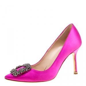 Manolo Blahnik Hot Pink Satin Hangisi Crystal Embellished Pumps Size 36