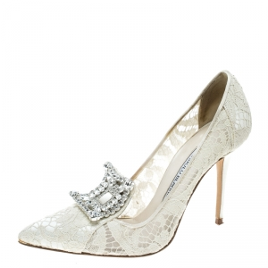 Manolo Blahnik Off White Lace and Satin Borlak Crystal Embellished Pumps Size 36.5