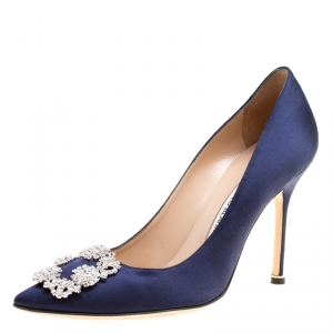 Manolo Blahnik Blue Satin Hangisi Crystal Embellished Pumps Size 38.5