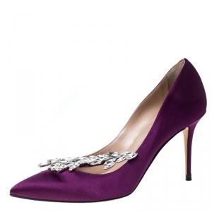Manolo Blahnik Purple Satin Nadira Crystal Embellished Pointed Toe Pumps Size 37