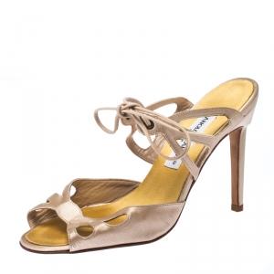 Manolo Blahnik Beige Laser Cut Satin Open Toe Ankle Wrap Sandals Size 36.5 - used