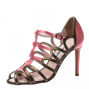 Manolo Blahnik Satin And Leather Cut Out Strappy Sandals Size 36 - used