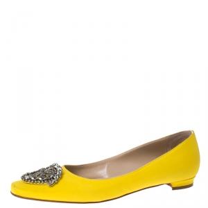 Manolo Blahnik Yellow Satin Crystal Embellished Ballet Flats Size 37.5