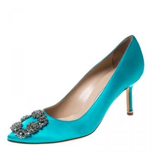 Manolo Blahnik Turquoise Satin Hangisi Crystal Embellished Pointed Toe Pumps Size 37