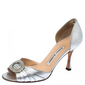 Manolo Blahnik Silver Metallic Crystal Embellished Sedaraby Sandals Size 35.5