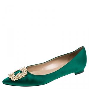 Manolo Blahnik Green Satin Hangisi Ballet Flat Size 39