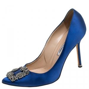 Manolo Blahnik Blue Satin Jewel Buckle Hangisi Pumps Size 40