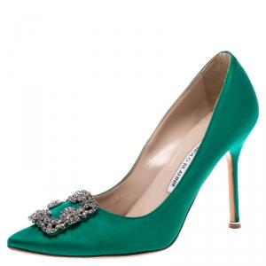 Manolo Blahnik Green Satin Hangisi Crystal Embellished Pumps Size 38.5