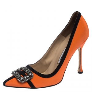 Manolo Blahnik Orange/Black Satin Hangisi Crystal Embellished Pumps Size 40
