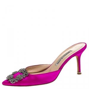 Manolo Blahnik Pink Maysale Embellished Pointed Toe Mules Size 36.5