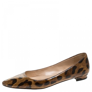 Manolo Blahnik Leopard Patent Leather Titto Ballet Flats Size 35 - used