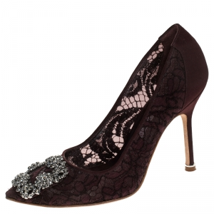 Manolo Blahnik Burgudy Lace And Fabric Hangisi Embellished Pointed Toe Pumps Size 35.5