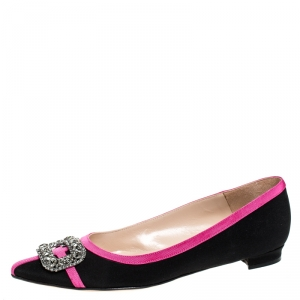 Manolo Blahnik Black Satin And Pink Trim Gotrian Crystal Embellished Pointed Toe Flats Size 38